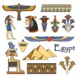 Egypt architecture and ornaments color vector set - Stock Vector