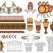 Greece architecture and ornaments color vector set - Stock Vector