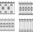 Silhouette of different old street fences vector - Stock Vector