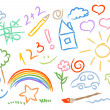 Children drawing multicolored symbols vector set — Stock Vector #11806692