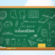 School background with blackboard, pencils and education symbols — Vecteur #11806697