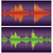 Green and orange soundwaves on purple, vector — Stock Vector
