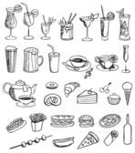 Food and drink vector set — Stock Vector