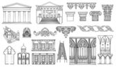 Architecture and ornaments vector set — Stock Vector
