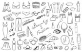 Beauty and fashion items vector set — Stock Vector