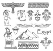 Egypt architecture and ornaments vector set — Stock Vector