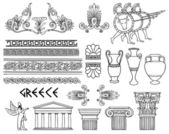 Greece architecture and ornaments vector set — Stock Vector