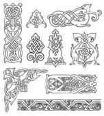 Antique old Russian ornaments vector set — Stock Vector