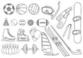 Different sport items vector set — Stock Vector
