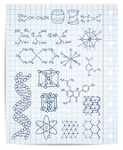 Physics and chemistry on copybook page vector set — 图库矢量图片