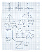 Math and geometry on copybook page vector set — 图库矢量图片
