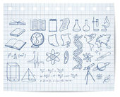 Science and education symbols on copybook page vector set — 图库矢量图片