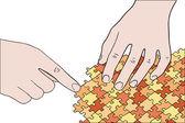 Mani umane montaggio arancione puzzle vettoriale — Vettoriale Stock