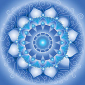 Abstract blue pattern, mandala of vishuddha chakra vector — Stok Vektör