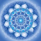 Soyut mavi model, mandala vishuddha çakra vektör — Stok Vektör