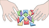 Human hands assembling puzzle from multicolored pieces vector — Stock Vector