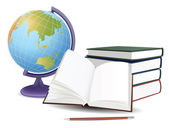 School globe, books and pencil, vector — Stock Vector
