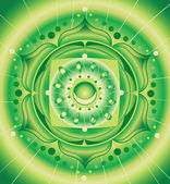Abstract green pattern, mandala of anahata chakra vector — Stock Vector