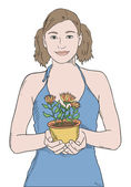 Girl in blue shirt with potted plant vector — Stock Vector