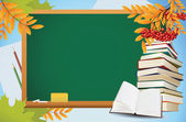 School autumn background with blackboard, books and yellow leave — Stock Vector