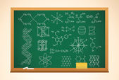 Chemistry school background with blackboard and symbols on it, v — Stock Vector