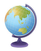 School globe, view on asia, vector — Vector de stock