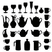 Many different tableware silhouette vector — Stock Vector