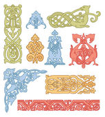 Celtic color ornaments vector set — Stock Vector