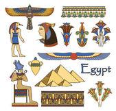 Conjunto de vectores color arquitectura y ornamentos de egipto — Vector de stock