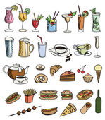 Food and drink color vector set — Stock Vector