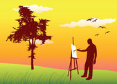 Man sanding on summer lawn near tree and painting on easel, yell — Stock Vector