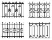Silhouette of different old street fences vector — Stock Vector