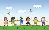 Happy children holding for hands on summer field vector — Stock Vector