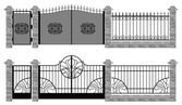 Old street fences and gates vector — Stock Vector