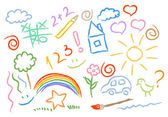 Children drawing multicolored symbols vector set — Vector de stock