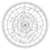 Mapa do céu com estrelas e constelações vector — Vetorial Stock