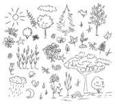 Conjunto de vector de naturaleza y medio ambiente — Vector de stock