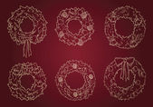 Many christmas wreaths vector — Stock Vector