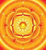 Svadhisthana chakra vektörünün parlak turuncu mandala — Stok Vektör