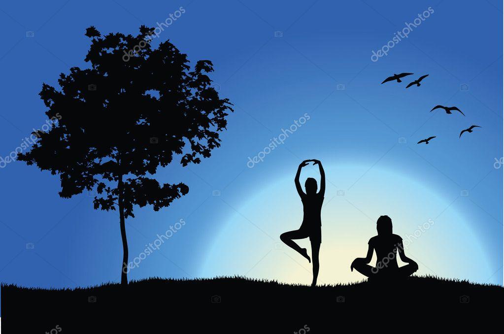 树,附近山上的两个瑜伽女孩蓝色的背景— 矢量图片作者 shooarts
