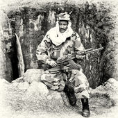 An Ethiopian man sits in the soldier clothes and with his gun — Stock Photo