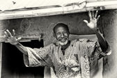 A Benin old man smiles and dances — Foto Stock