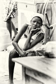A Benin girl watches at somebody — Stock Photo