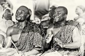 Happy Ghanaian drummers — Stock Photo
