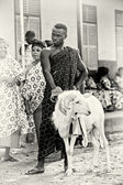 A Ghanaian man with a goat — Stock Photo