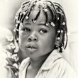 Young girl from Ghana with curious hair — Stock Photo