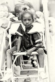 Little Ghanaian girl is wore like a pupil — Stock Photo