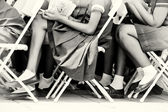 Legs of the Ghanaian pupil while they are studding — Stock Photo