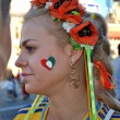 Beautiful Ukrainian girl which supports Italian national football team - Stock Photo