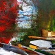 Brushes at easel — Stock Photo #11653561